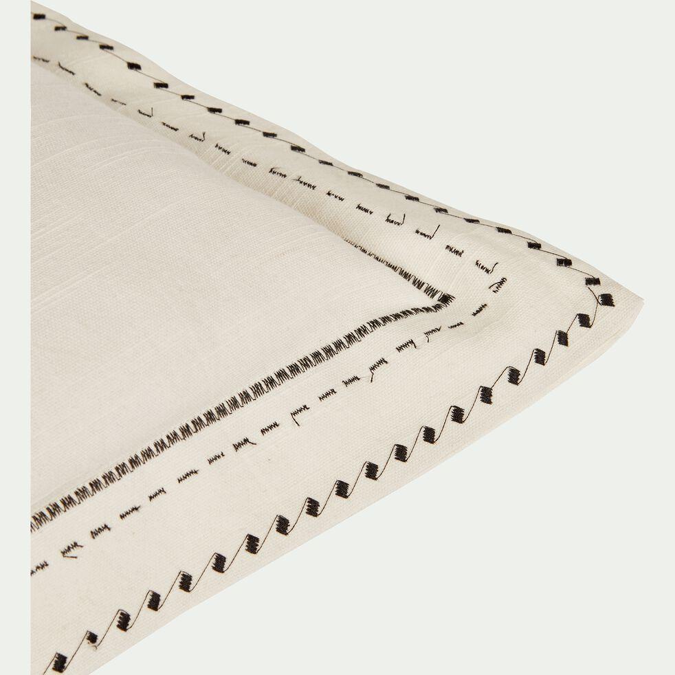 Coussin à volants brodés en coton - écru 50x50cm-Medine