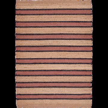Tapis rectangulaire en jute rayé naturel et ocre 120x170 cm-CASA