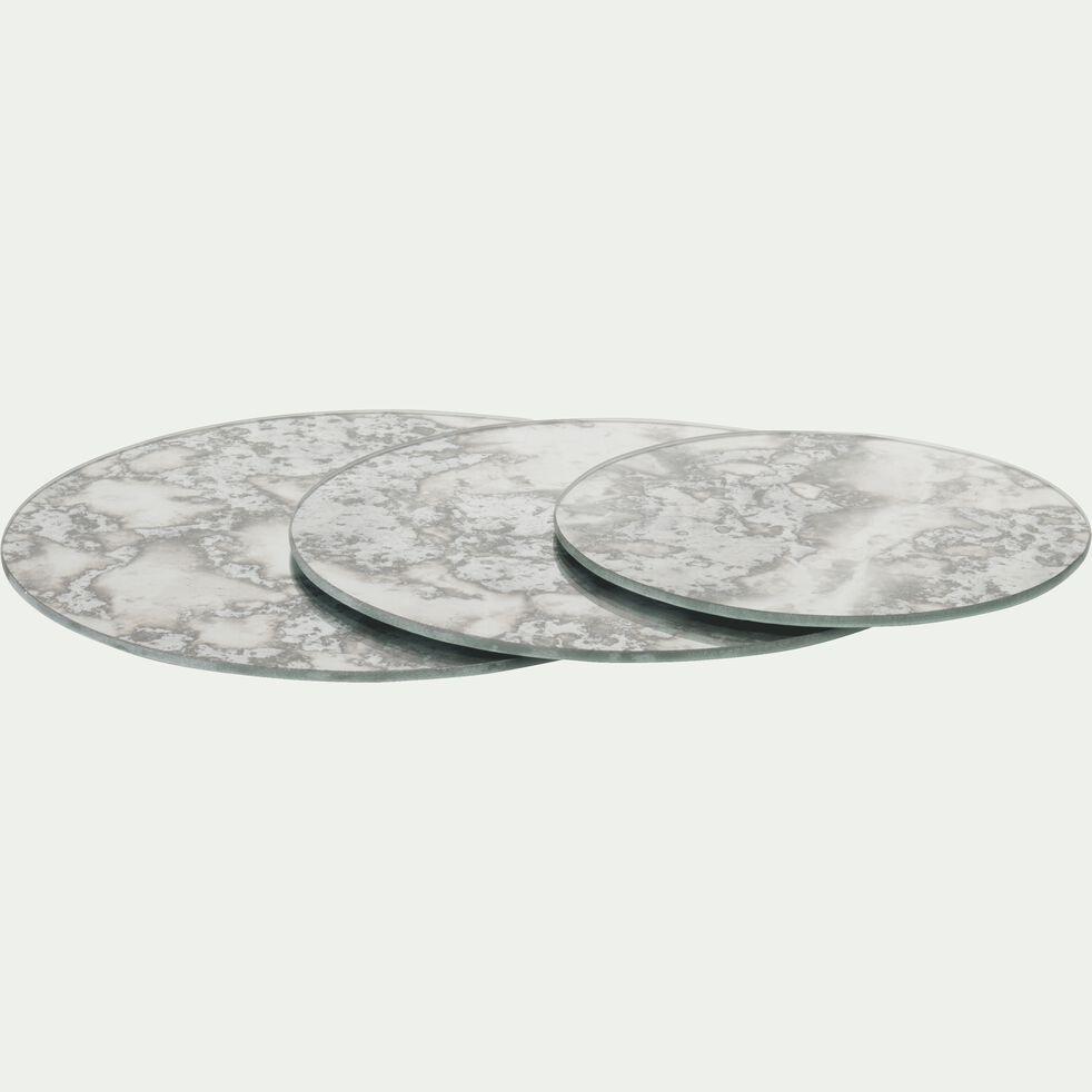 Plateau de décoration effet miroir vieilli en verre - gris D25cm-ADAMO