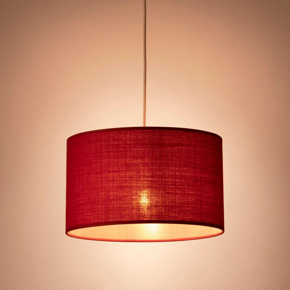 Suspension cylindrique en coton - D60cm rouge arbouse-MISTRAL
