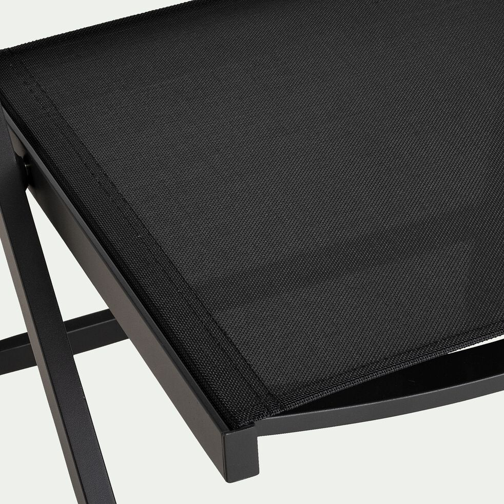 Chaise pliante en aluminium et textilène - noir-VITOR