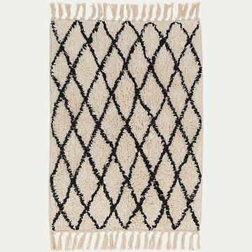 Tapis de bain en coton tufté - blanc et noir 50x80cm-Gohar