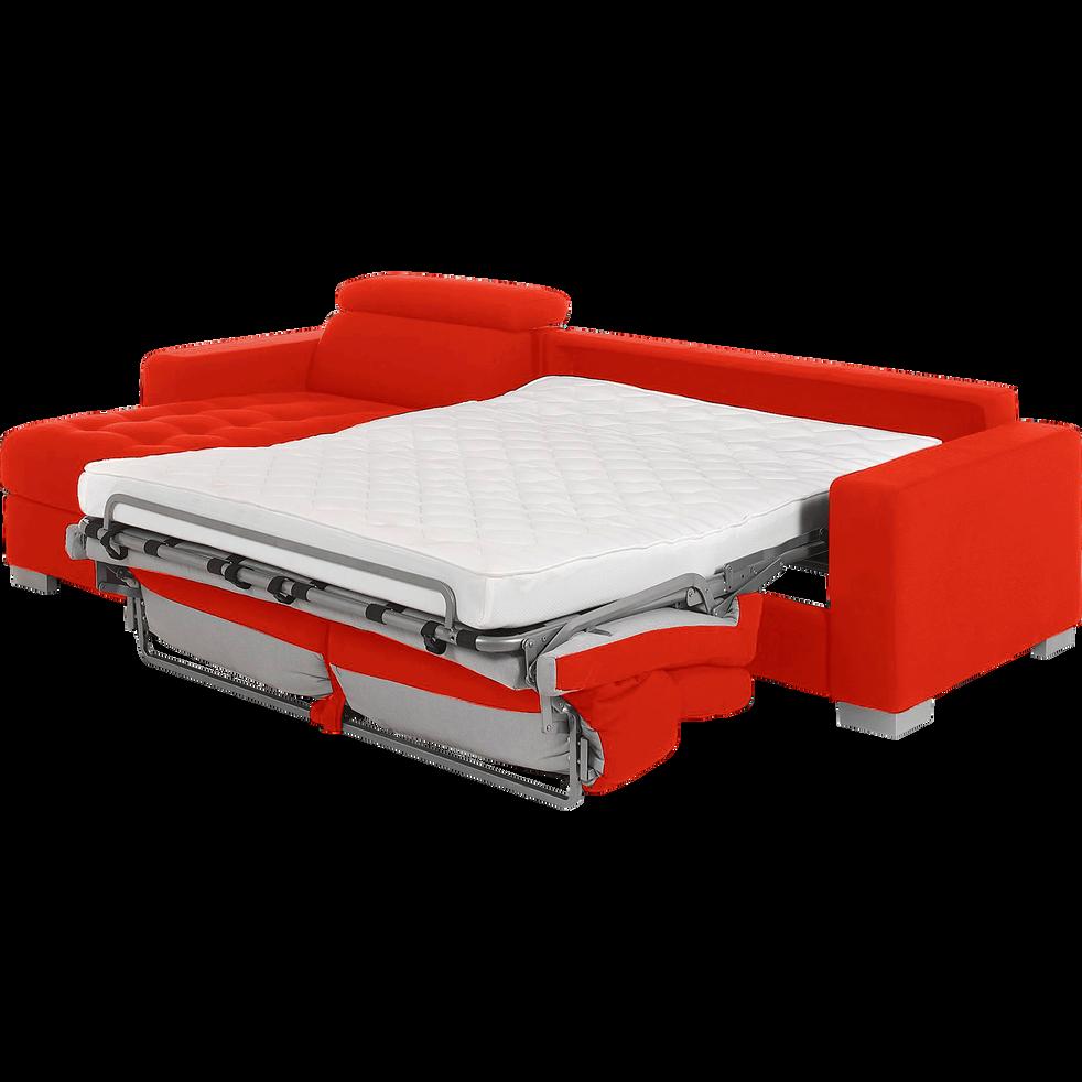 Canapé d'angle convertible en tissu rouge-Mauro