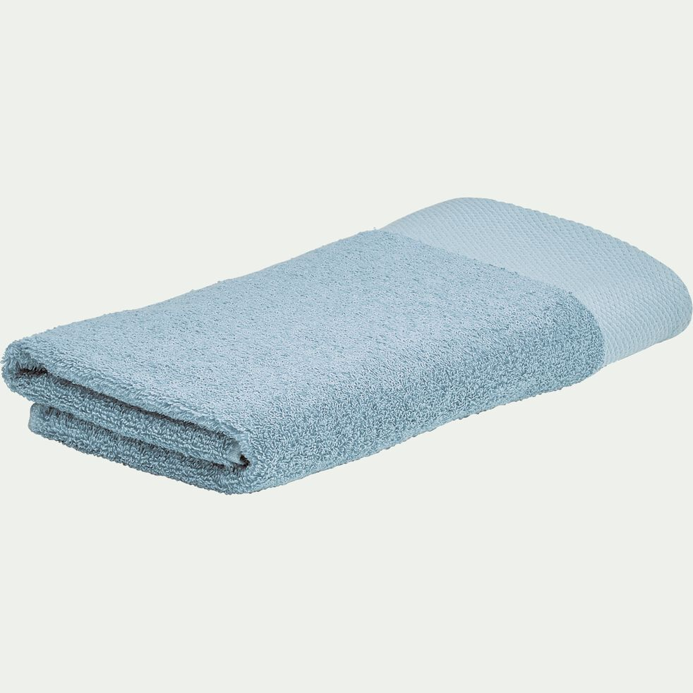 Serviette de toilette en coton peigné - bleu calaluna 50x100cm-AZUR