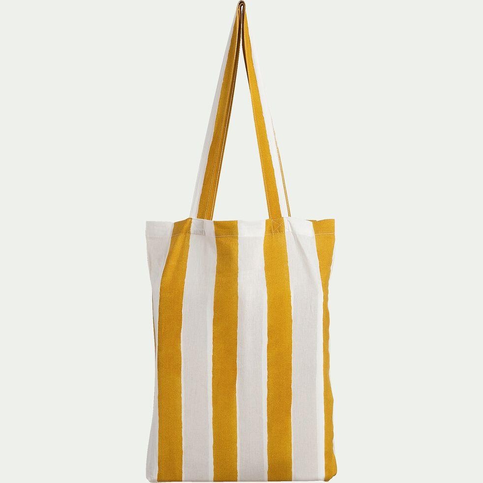 Housse de couette et 2 taies d'oreiller rayés en coton - jaune 260x240cm-SINTRA