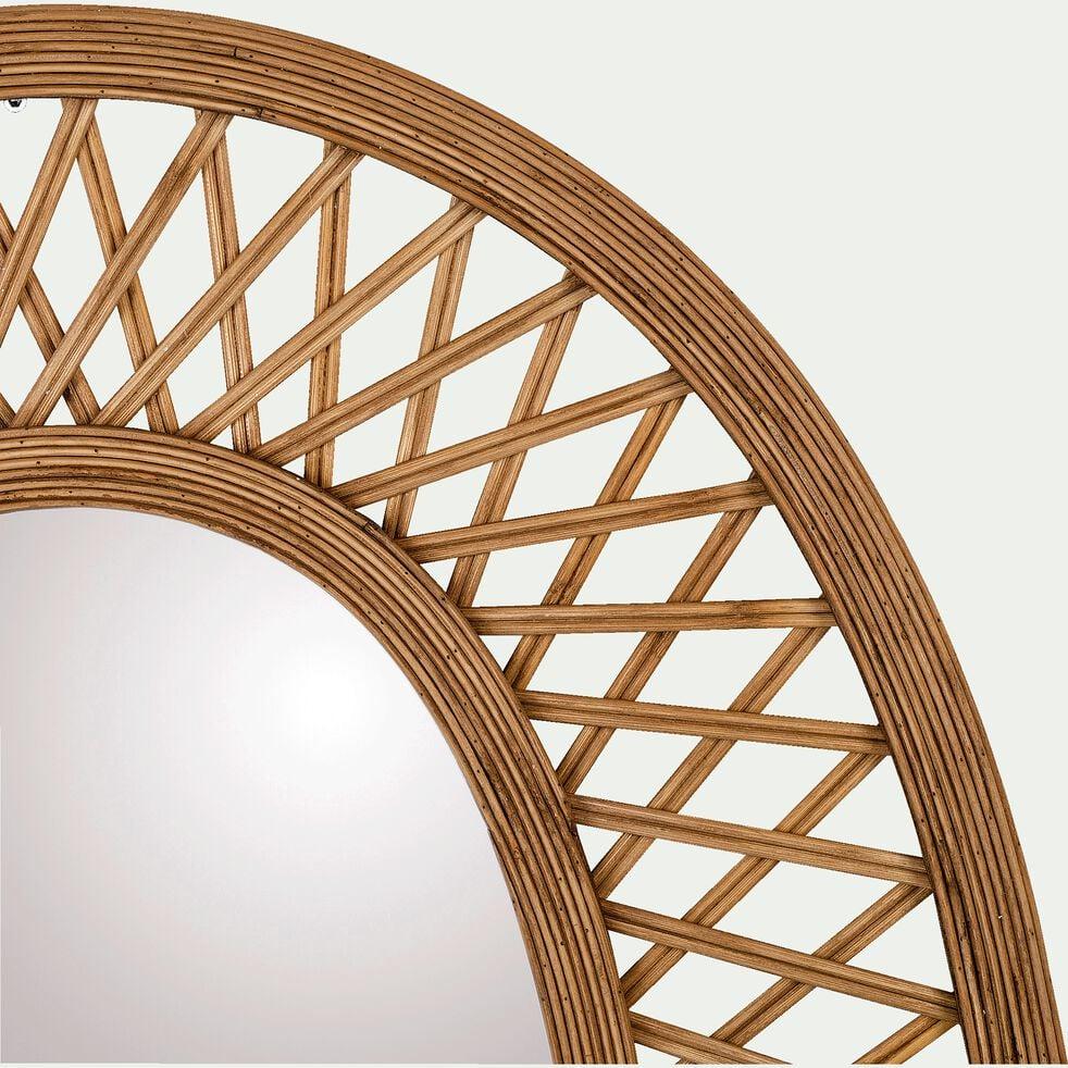 Miroir ovale cannage en bambou - naturel H81cm-HAWAL