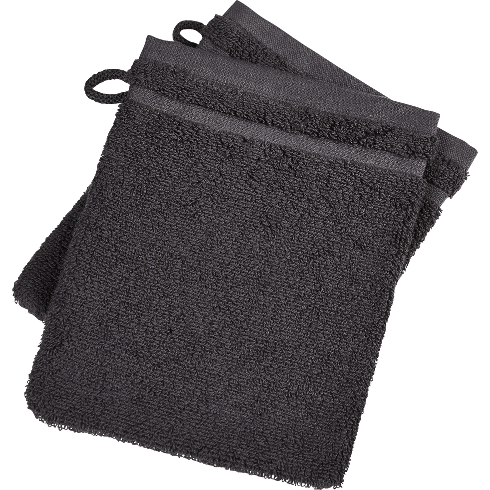 Lot de 2 gants de toilette gris anthracite-BULLY