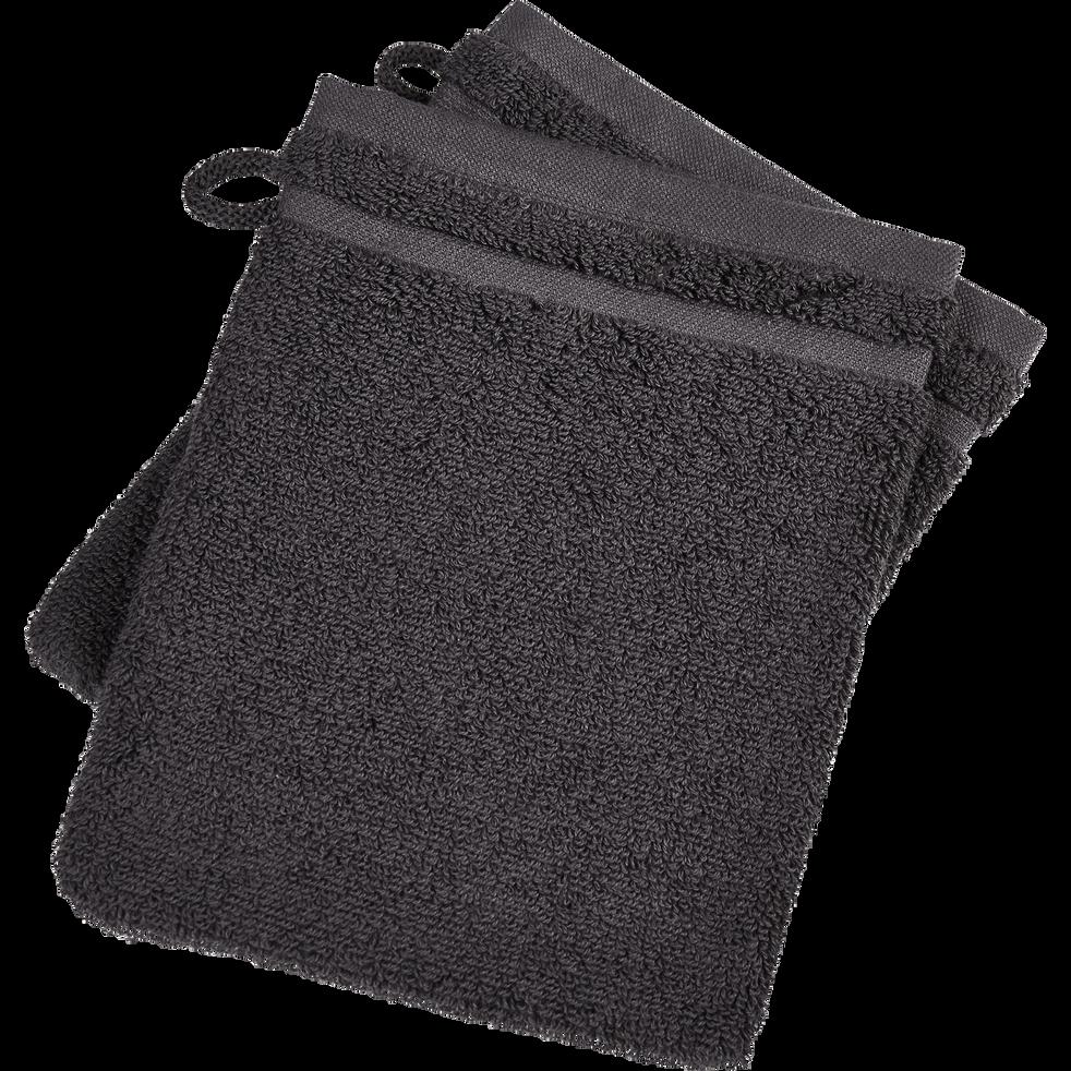 Lot de 2 gants de toilette gris anthracite-BULLY
