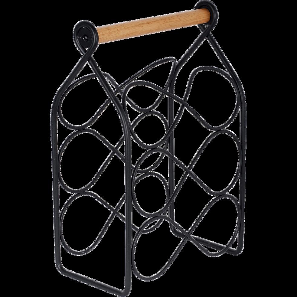 Rangement bouteilles en métal noir avec poignée en bois-RABIOU