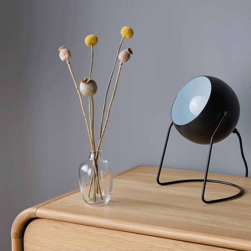 Lampe ronde en métal noir H26cm-BAOU