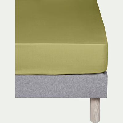 Drap housse en coton Vert guarrigue 140x200cm-bonnet 25cm-CALANQUES