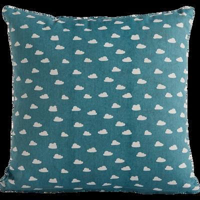 Coussin carré 40x40cm bleu motifs nuages pour enfant-ARON