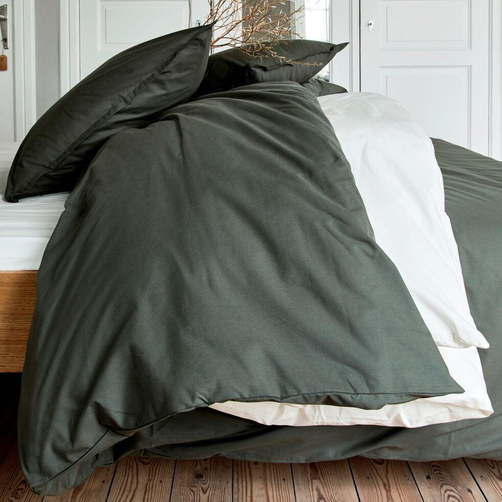 Housse de couette en percale de coton - vert cèdre 260x240cm-FLORE