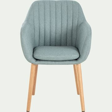 Chaise capitonnée en tissu avec accoudoirs - vert olivier-SHELL