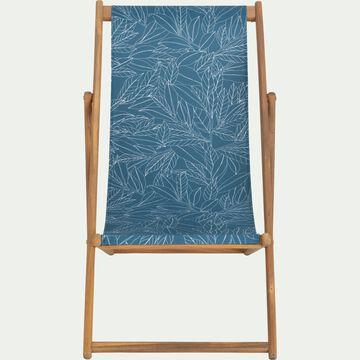 Chilienne de jardin déhoussable à motif laurier - bleu figuerolles-UDINE