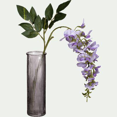 Vase verre gris H20cm-EZIO
