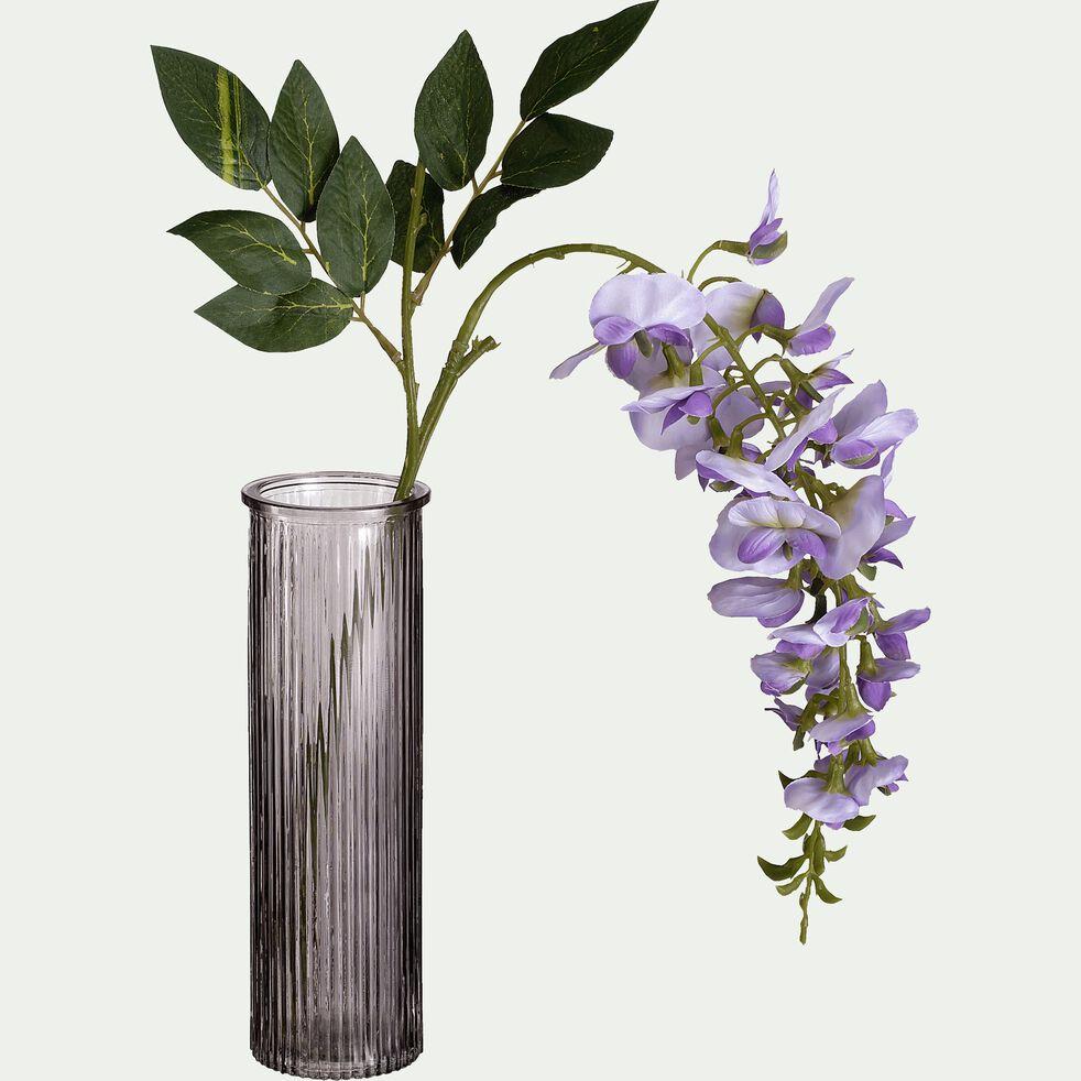 Vase tube en verre teinté - gris H20cm-EZIO