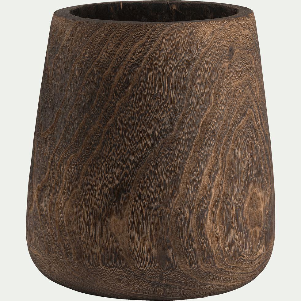 Vase en bois de paulownia - marron H35cm-NELIA