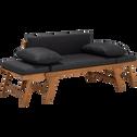 Canapé de jardin en bois et coussin gris anthracite-REGUSSE