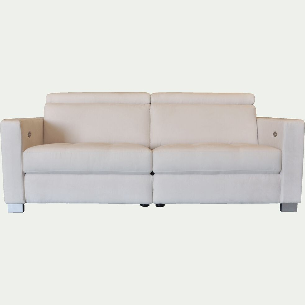 Canapé de relaxation 2 places en tissu accoudoir 15 cm - beige-MAURO