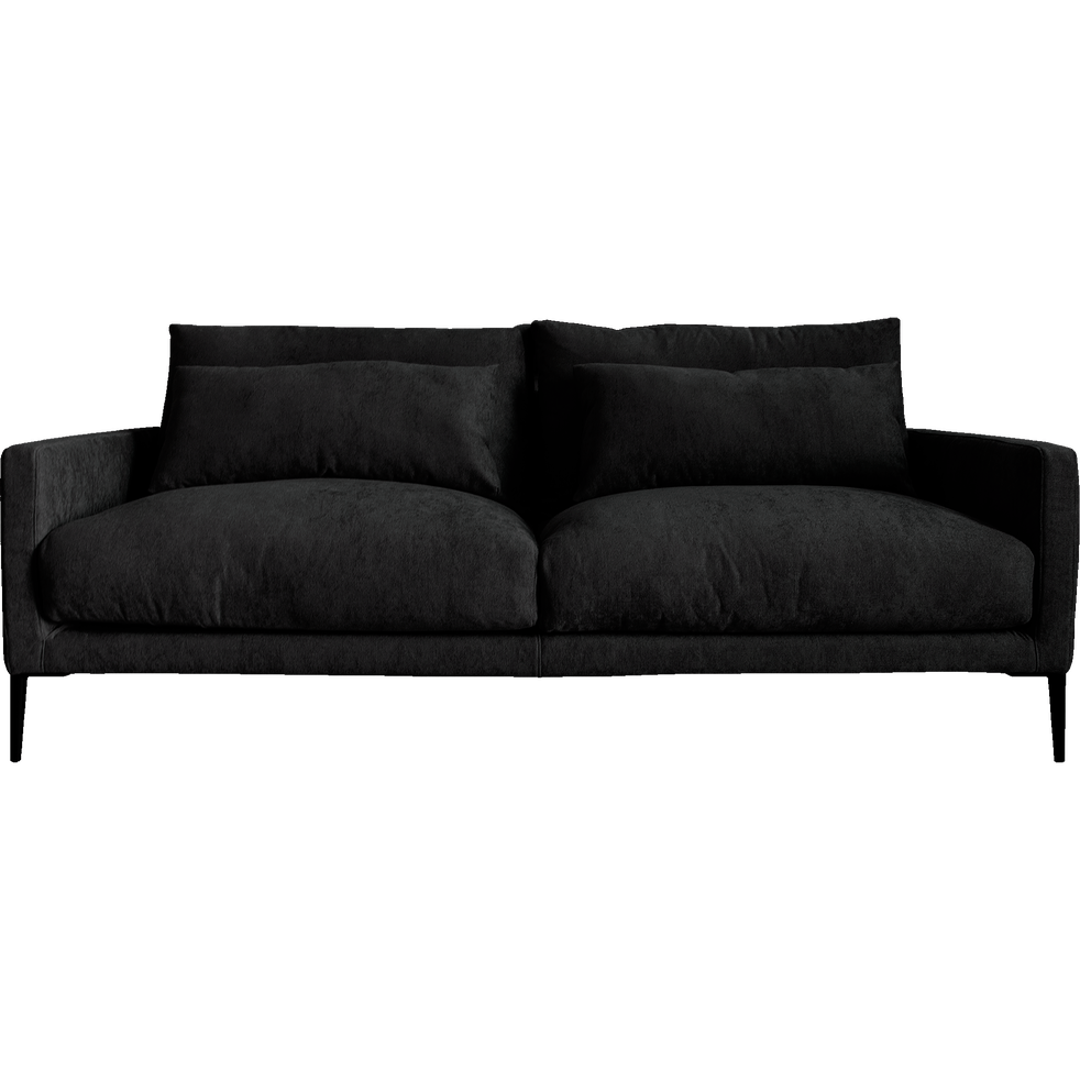 Canapé 3 places fixe en tissu gris ardoise-SOZY