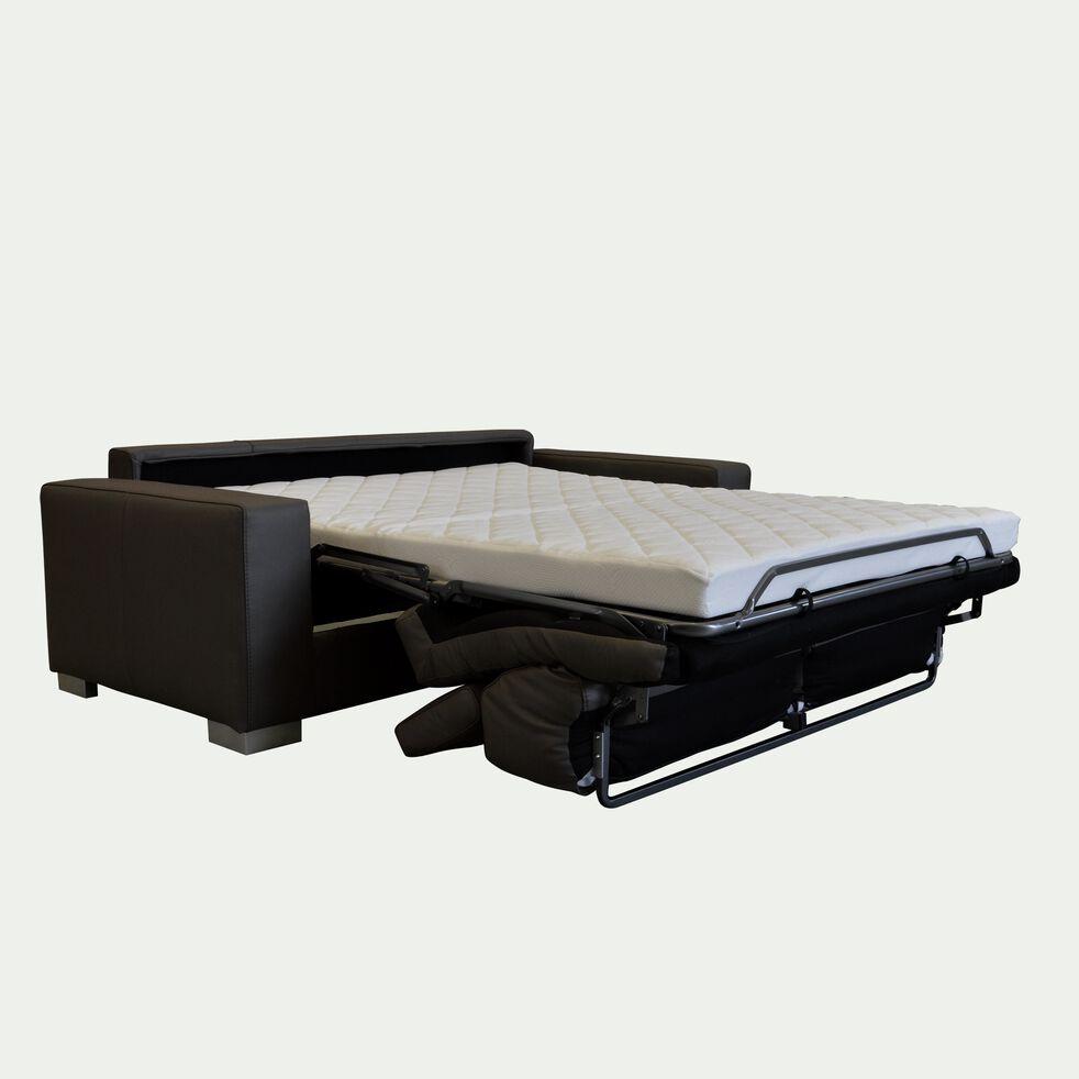 Canapé 3 places convertible en cuir de buffle - taupe foncé-Mauro