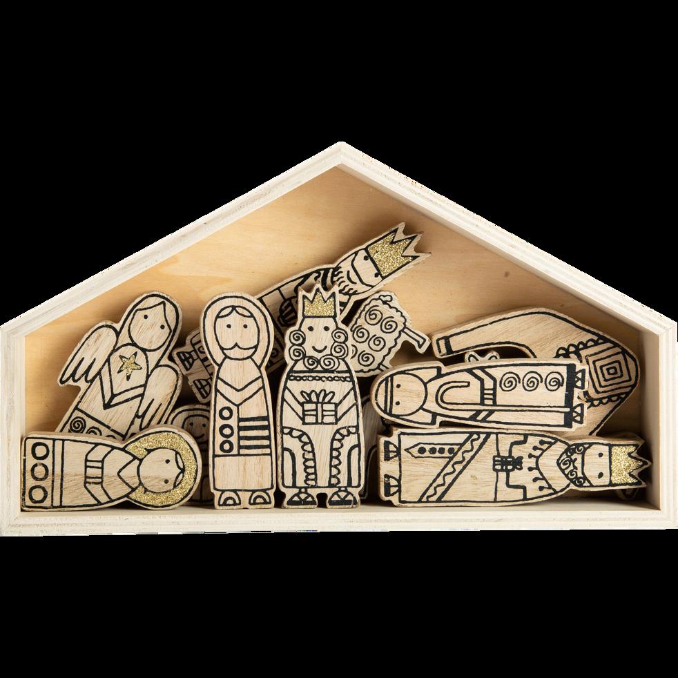 Mini crèche en bois naturel H22,9cm-CAIROUN