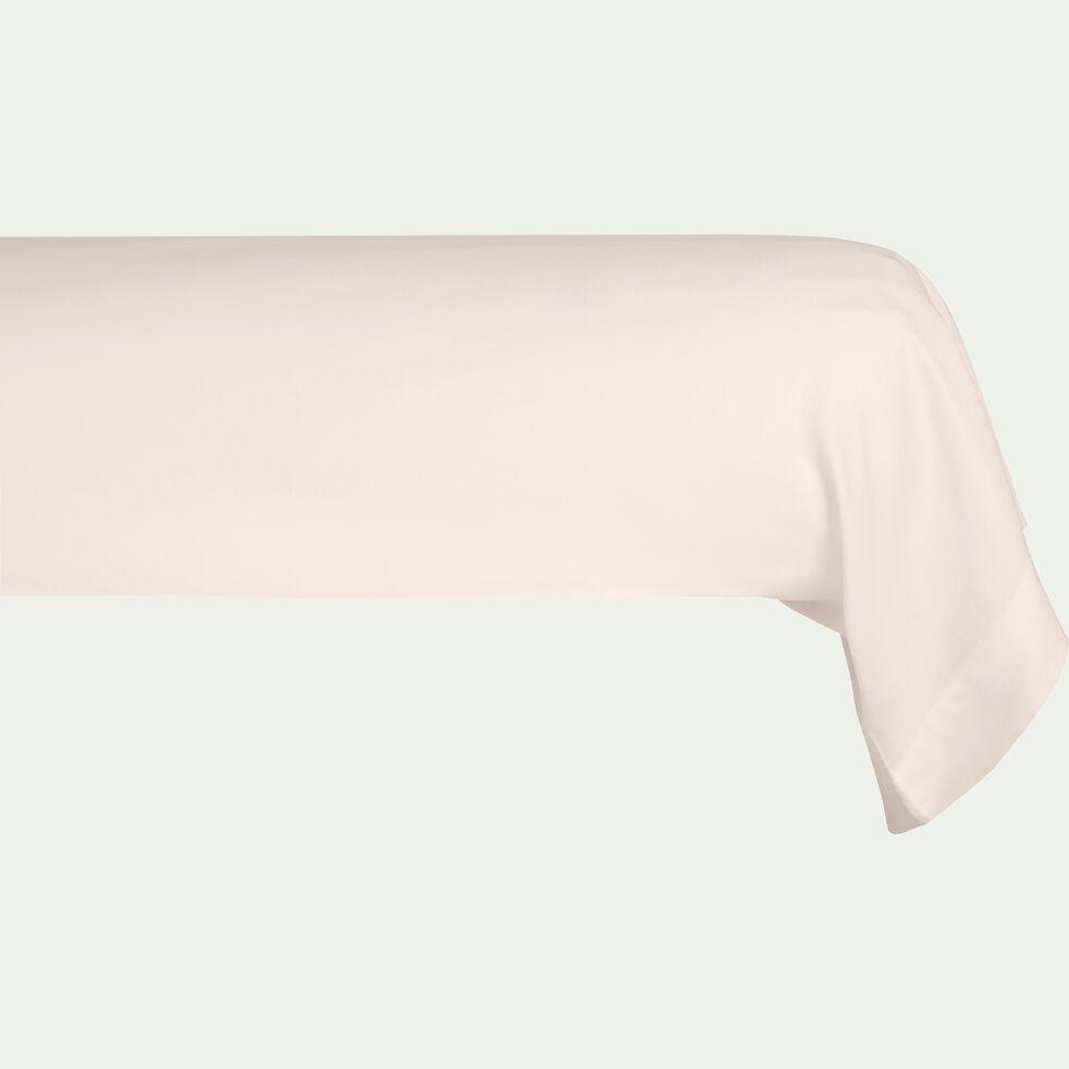 Taie de traversin rayée en satin de coton - rose grège 43x185cm-SANTIS