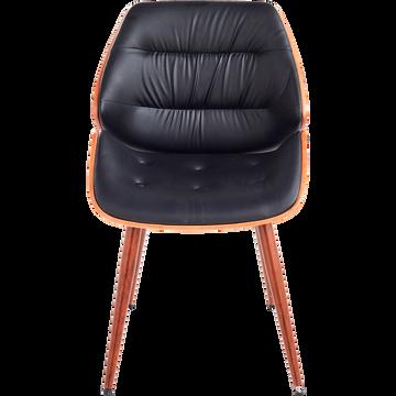 Chaise capitonnée rétro en simili noir-LEON