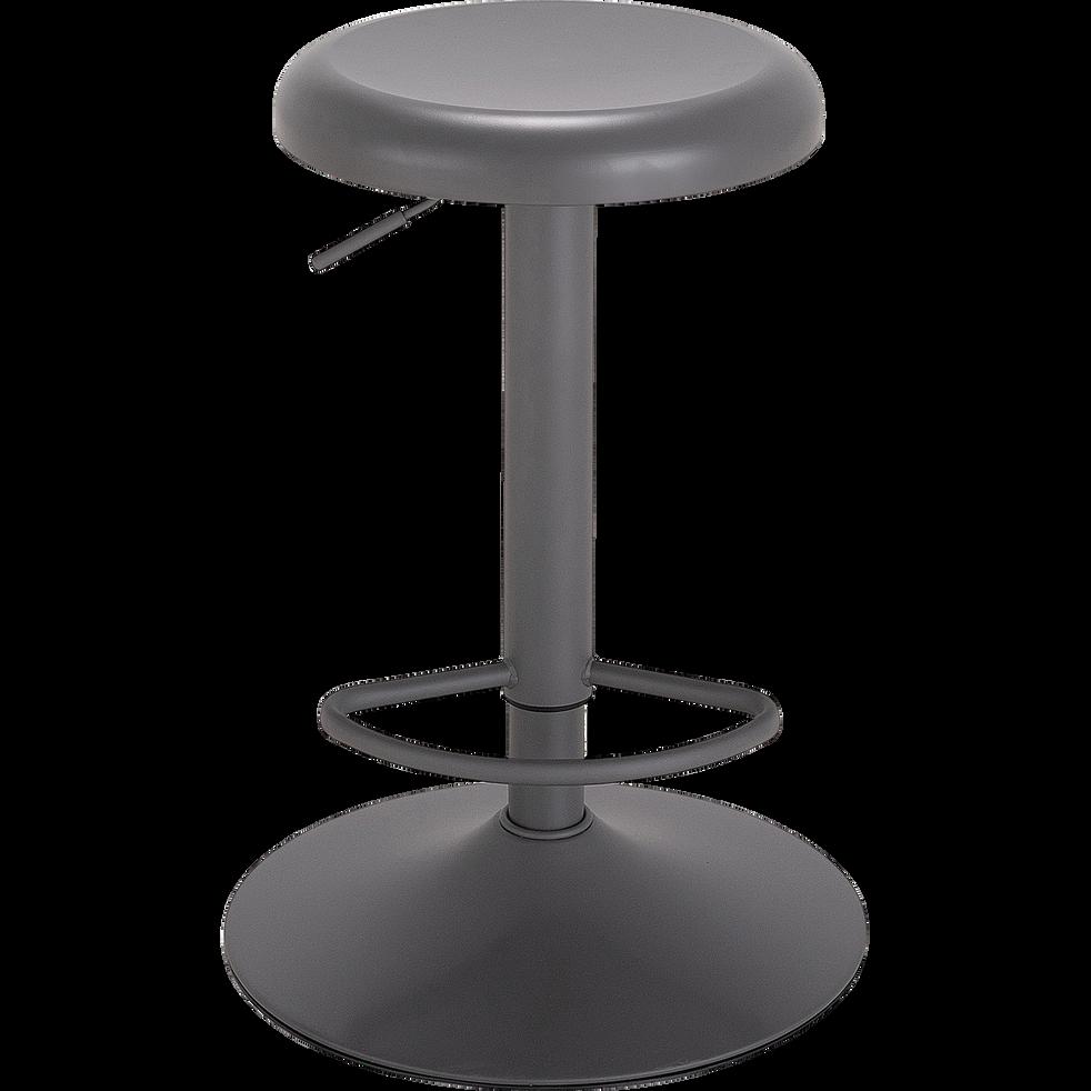 Tabouret ajustable en métal gris ardoise H59 à 81cm-CORIS