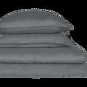 Lot de 2 taies d'oreiller en lin Gris restanque 65x65cm-VENCE