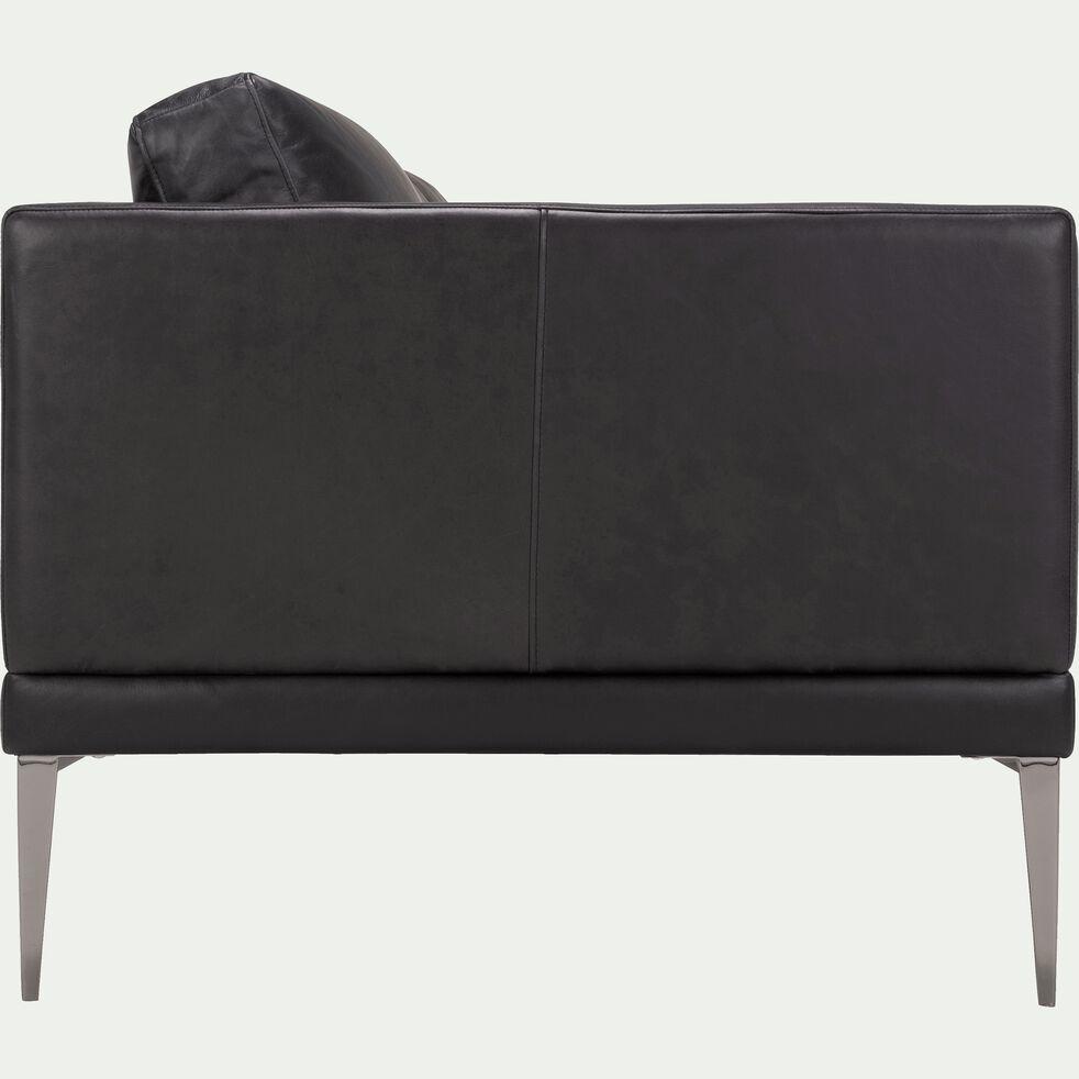 Canapé 3 places fixe en cuir aniline noir calabrun-PALMIE