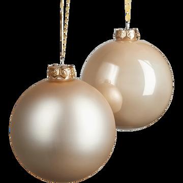 Lot de boules en verre couleur perle 4 pièces D10cm-DENYS