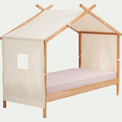 Lit 1 place avec cabane en tissus 90x200 cm- naturel-ALOUETTE