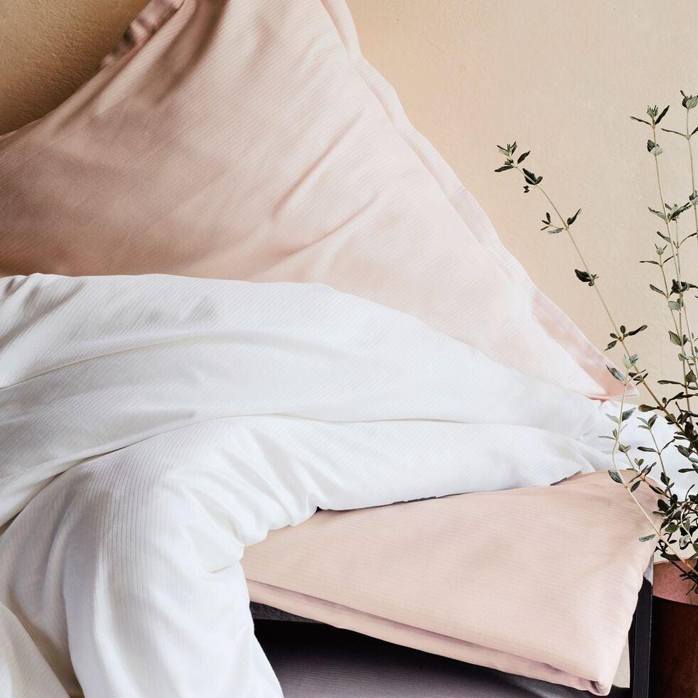 Housse de couette rayée en satin de coton - rose grège 240x220cm-SANTIS