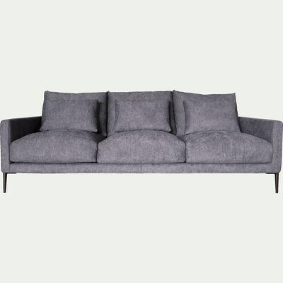 Canapé 4 places fixe en tissu gris borie-SOZY