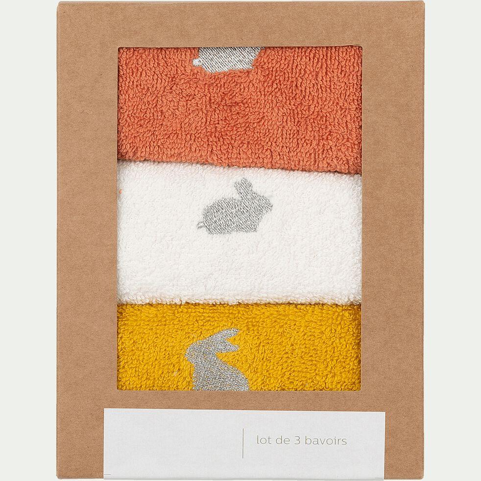 Lot de 3 bavoirs bébé en coton bio avec broderie lurex - multicolore-Plume