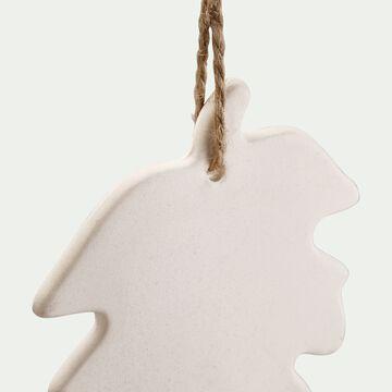 Suspension feuille 8x11,43x0,63cm en grès - blanc-ORSILIU