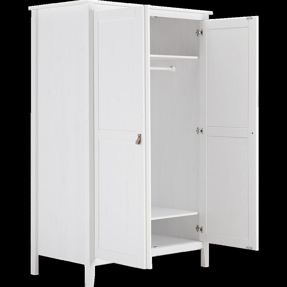 Armoire 2 portes pin massif blanc-LISON