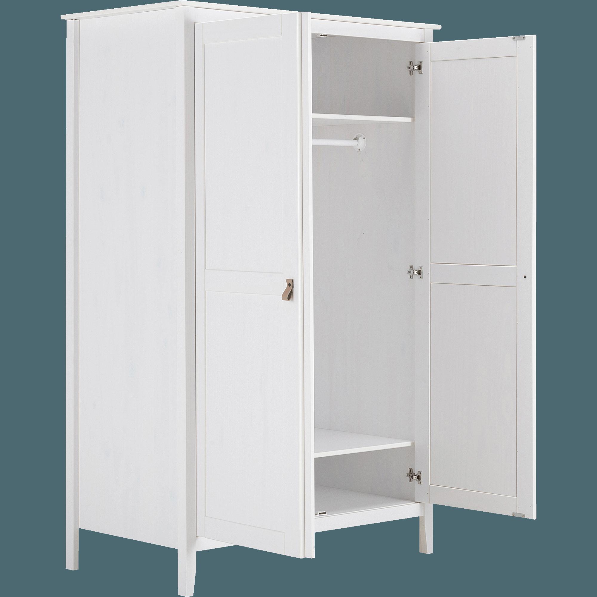 Armoire 2 Portes Pin Massif Blanc LISON