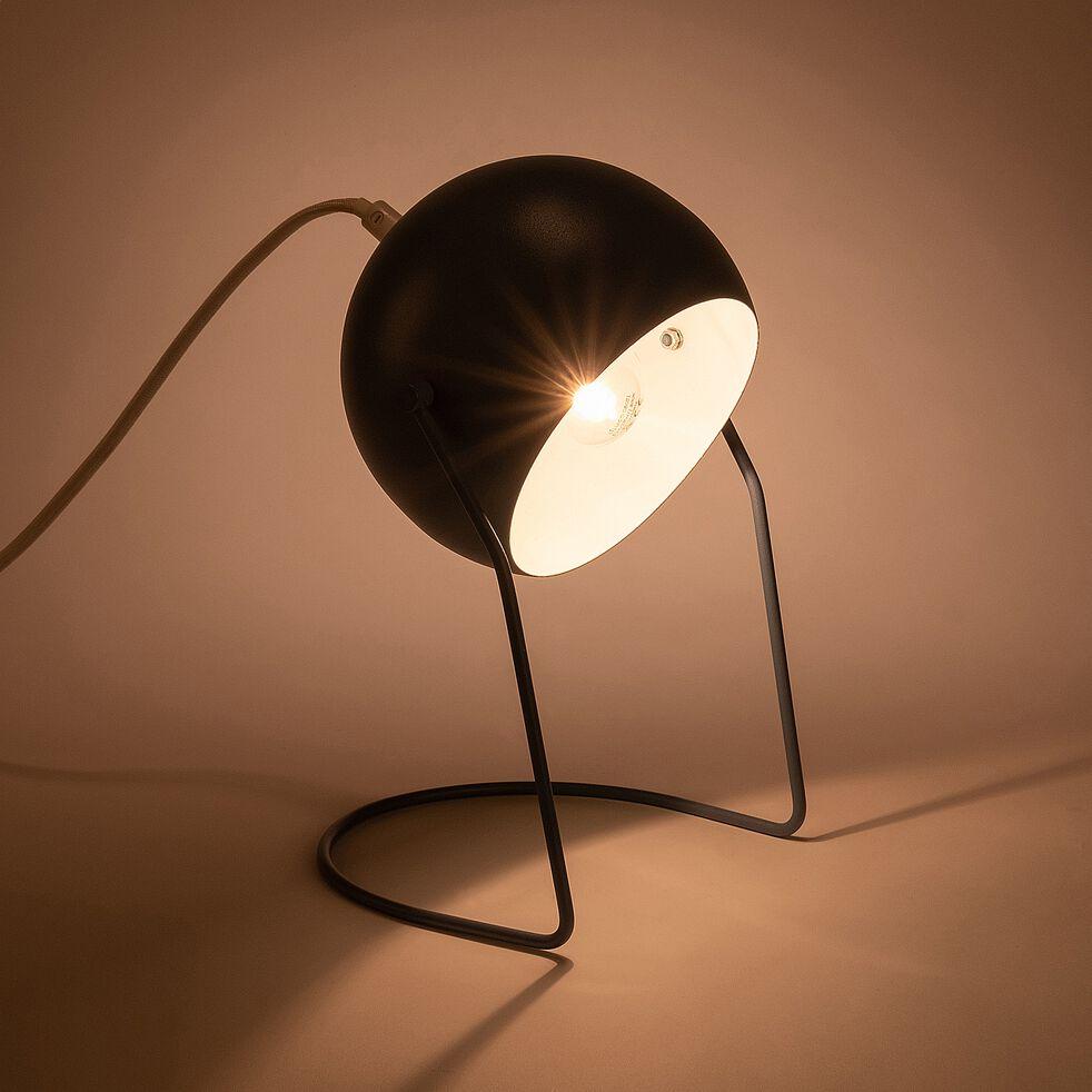 Lampe à poser ronde en métal bleu autan h26cm-BAOU