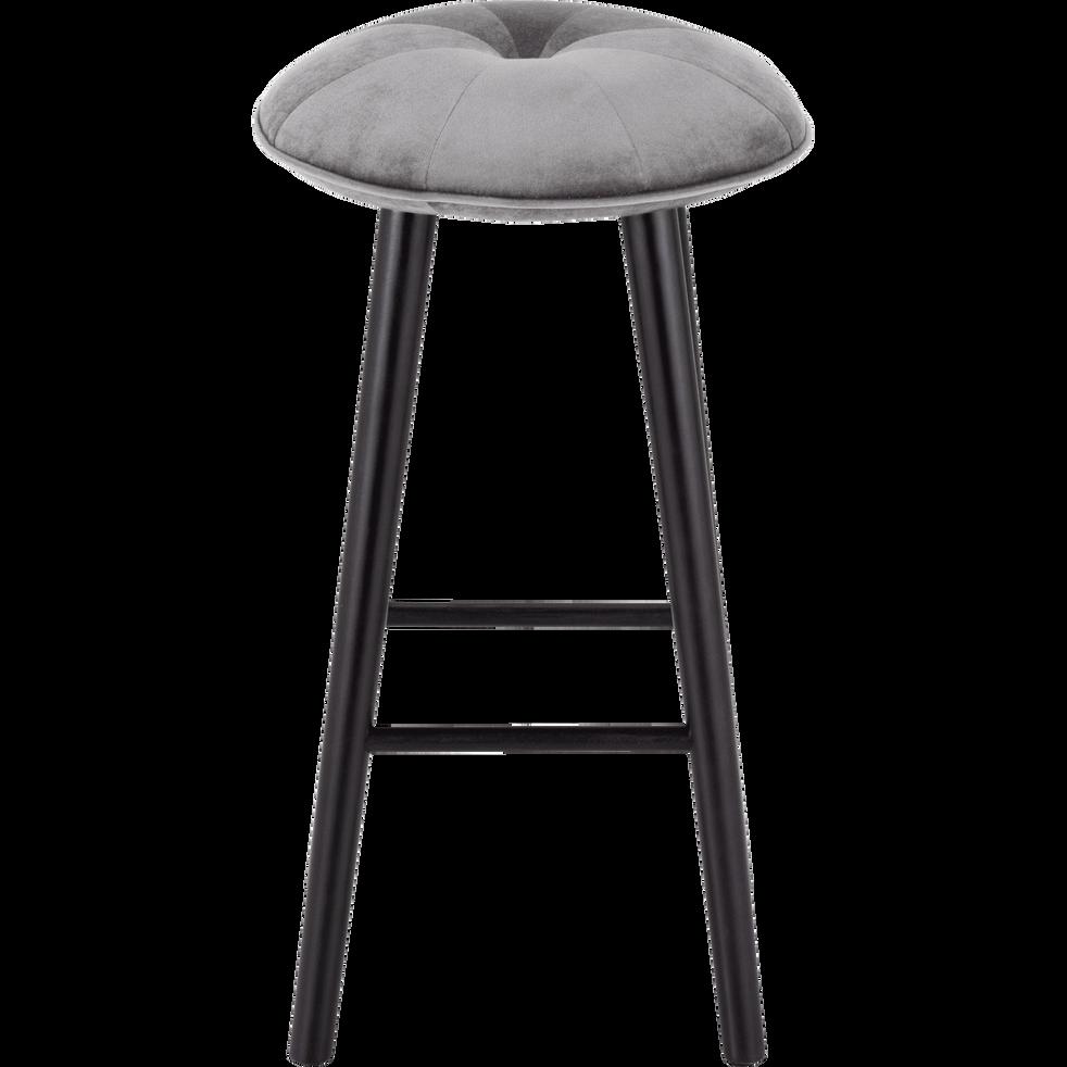 Tabouret de bar en velours gris borie - H75cm-AUGUSTIN