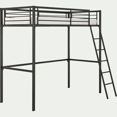 Lit mezzanine 1 place en acier - noir 90x200cm épaisseur max matelas 15cm-NIOLON
