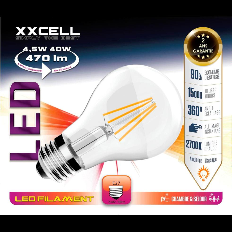 Ampoule LED D6cm blanc chaud à filaments culot E27-AMP STANDAR