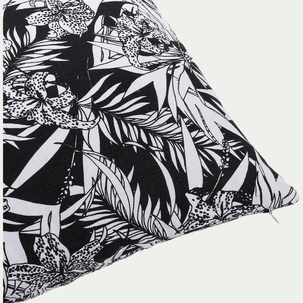 Coussin imprimé noir et blanc 45x45cm-ORCHIDEE