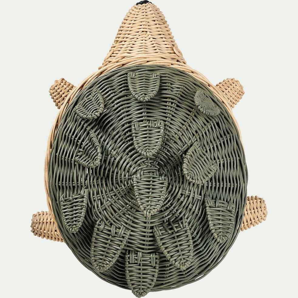 Panier hérisson tressé en rotin - vert-Eïris