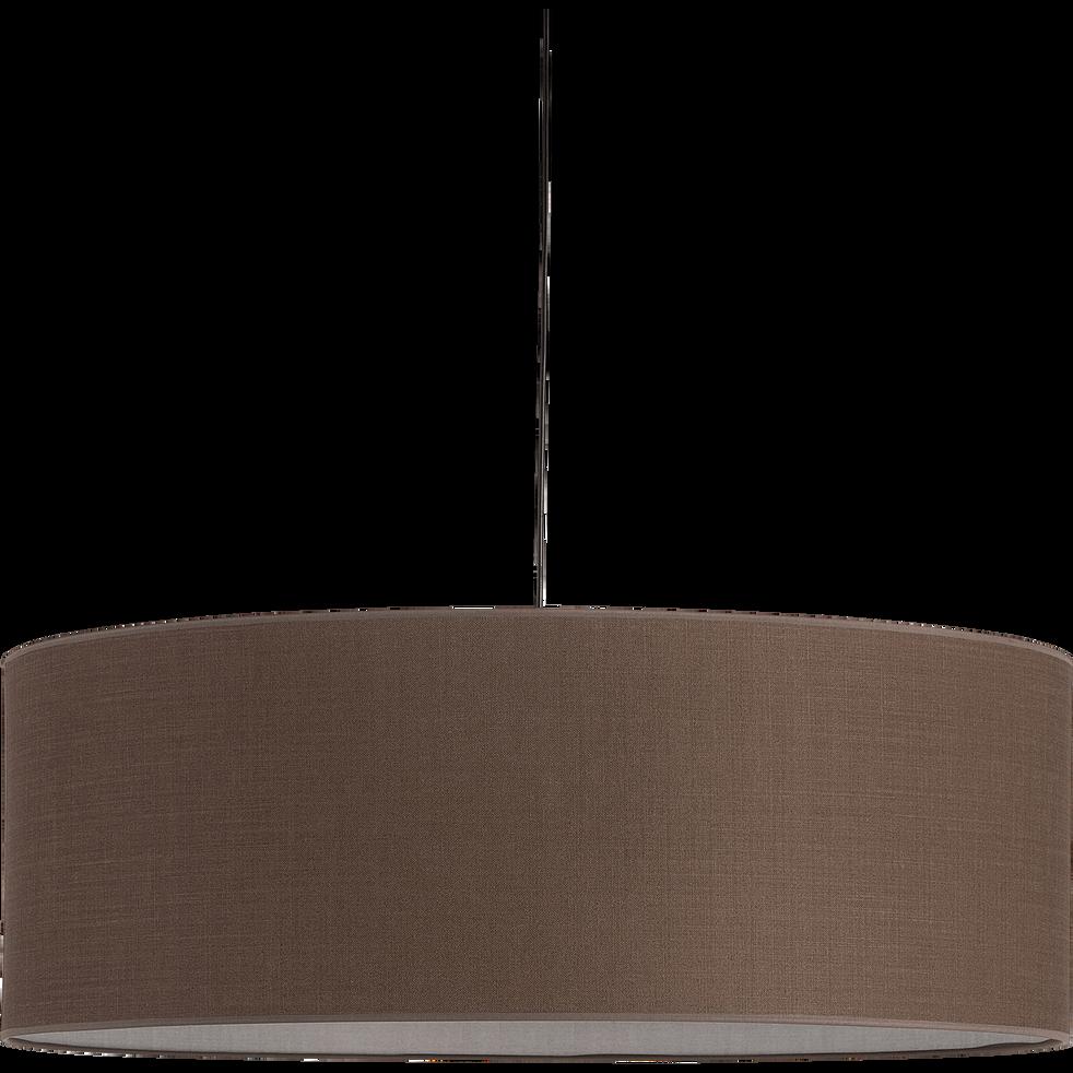 Suspension cylindrique en tissu brun châtaignier D75cm-MISTRAL