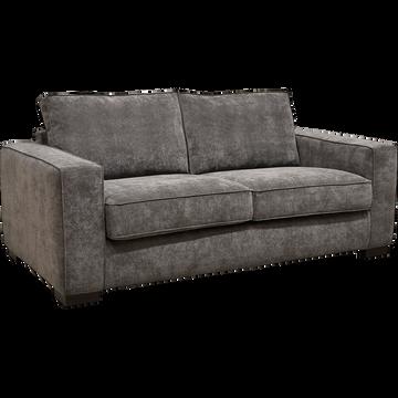 Canapé 2 places fixe revêtement toucher velouté gris restanque-CALIFORNIA