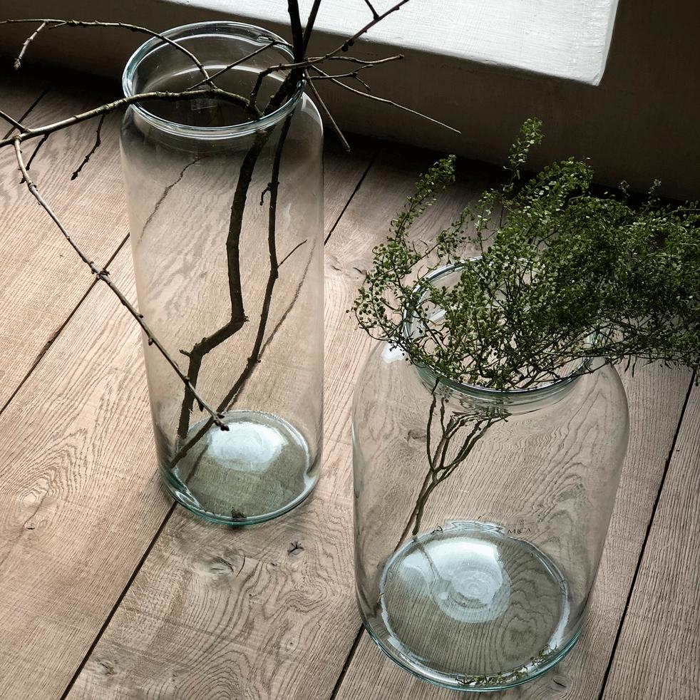 Vase en verre transparent D23xH40cm-AJJA