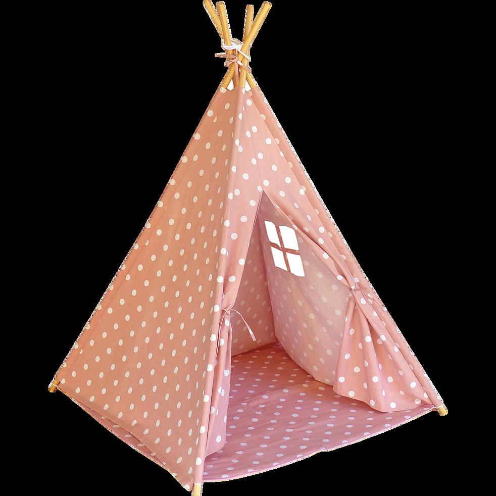 Tente tipi enfant rose motifs pois blancs H155cm-POIS